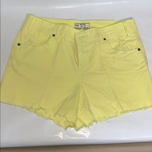 Neon Yellow cutoff shorts